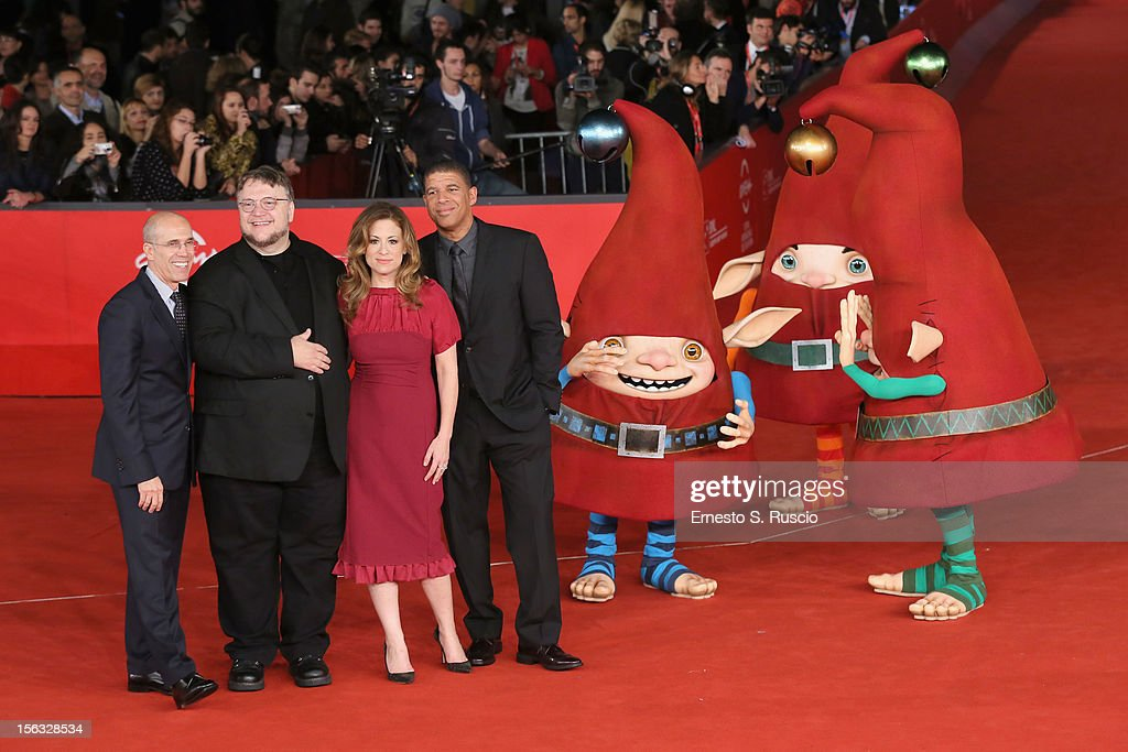 <a gi-track='captionPersonalityLinkClicked' href=/galleries/search?phrase=Jeffrey+Katzenberg&family=editorial&specificpeople=171496 ng-click='$event.stopPropagation()'>Jeffrey Katzenberg</a>, executive producer <a gi-track='captionPersonalityLinkClicked' href=/galleries/search?phrase=Guillermo+del+Toro&family=editorial&specificpeople=609181 ng-click='$event.stopPropagation()'>Guillermo del Toro</a>, producer Christina Steinberg and director Peter Ramsey attends 'Rise Of The Guardians' Premiere during The 7th Rome Film Festival at Auditorium Parco Della Musica on November 13, 2012 in Rome, Italy.