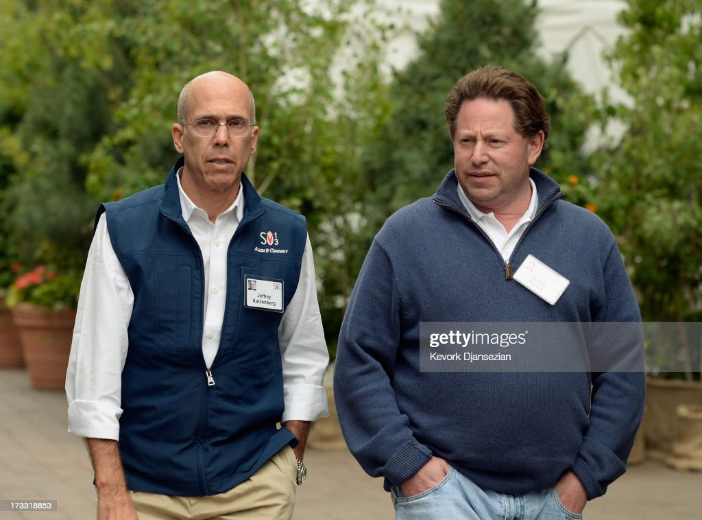 Jeffrey Katzenberg, film producer and CEO of DreamWorks Animation, and Bobby Kotick, CEO, president, of Activision, walk in Sun valley Village during Allen & Co. annual conference on July 11, 2013 in Sun Valley, Idaho. The resort will host corporate leaders for the 31st annual Allen & Co. media and technology conference where some of the wealthiest and most powerful executives in media, finance, politics and tech gather for a weeklong meetings which begins Tuesday. Past attendees included Warren Buffett, Bill Gates and Mark Zuckerberg.