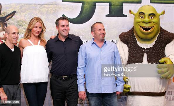 Jeffrey Katzenberg film producer and CEO of DreamWorks Animation SKG and Cameron Diaz and Chris Miller director and Aron Warner producer