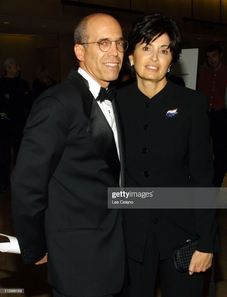 Jeffrey Katzenberg of DreamWorks and wife arrive for a dinner in honor of President and CEO of Vivendi Universal, Jean-Marie Messier, hosted by the Simon Wiesenthal Center, May 3, 2002, in Beverly Hills, Calif.