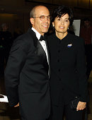 Jeffrey Katzenberg of DreamWorks and wife arrive for a dinner in honor of President and CEO of Vivendi Universal JeanMarie Messier hosted by the...