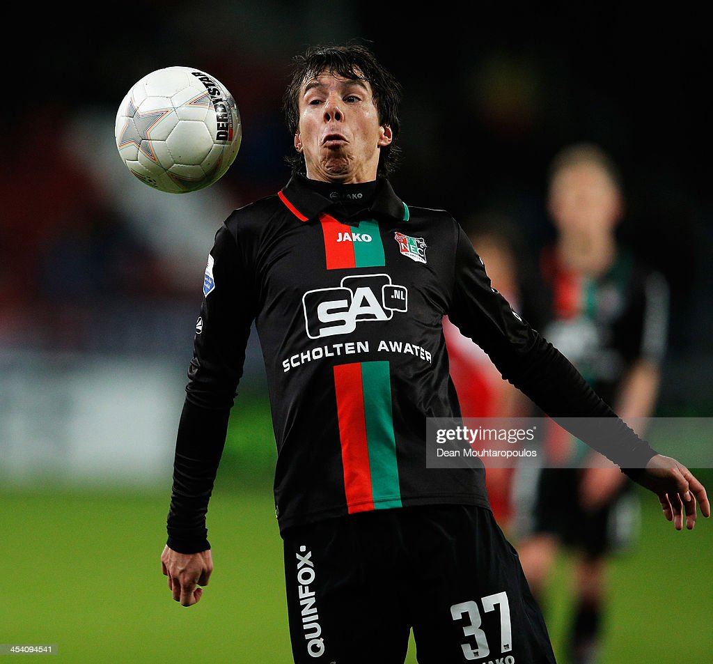 Jeffrey Leiwakabessy of NEC in action during the Dutch Eredivisie match between FC Utrecht and NEC Nijmegen held at Stadion Galgenwaard on December 6...