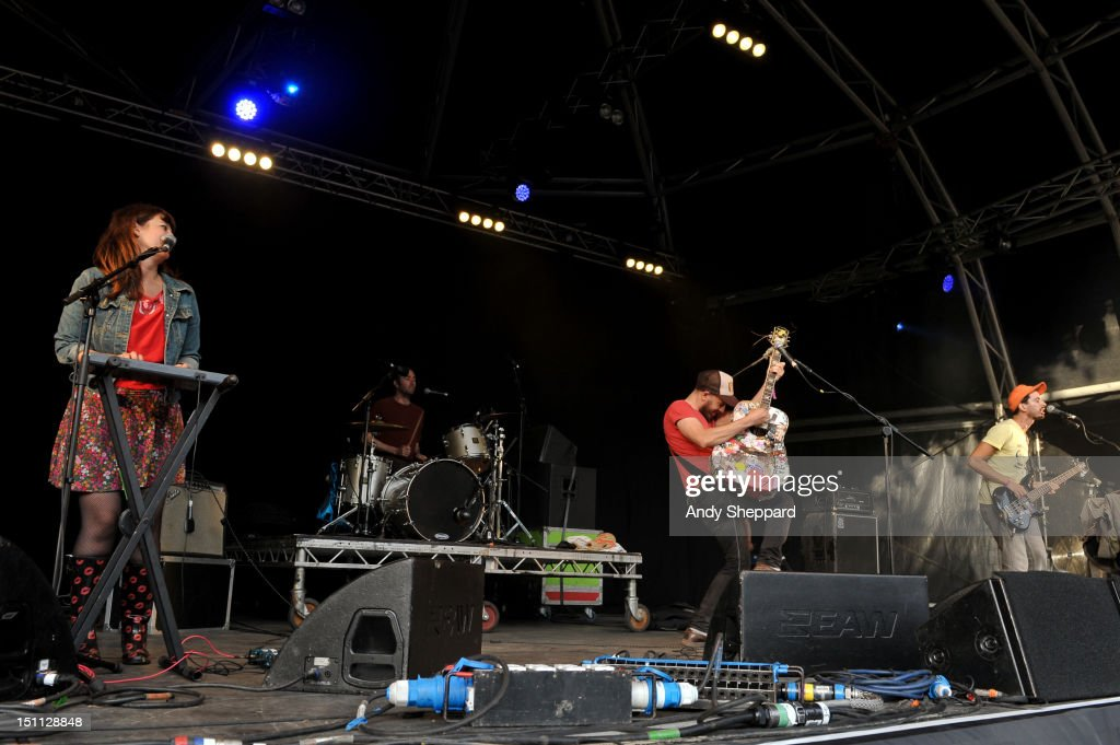 Jeffrey Lewis (C) of Jeffrey Lewis & The Junkyard performs on stage during End Of The Road Festival 2012 at Larmer Tree Gardens on September 1, 2012 in Salisbury, United Kingdom.