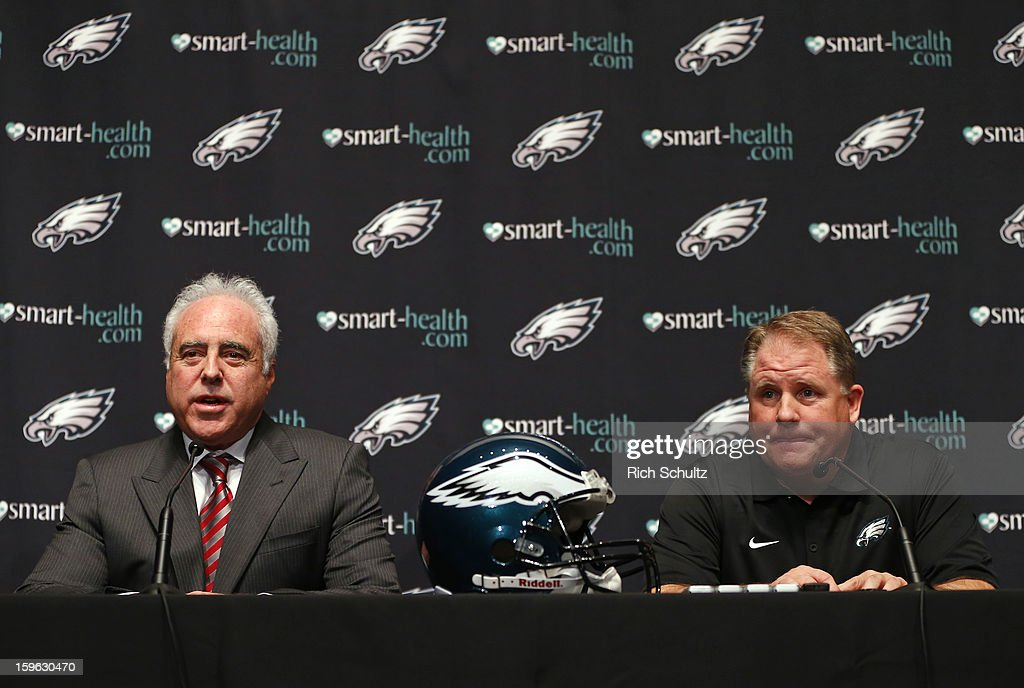 <a gi-track='captionPersonalityLinkClicked' href=/galleries/search?phrase=Jeffrey+Lurie&family=editorial&specificpeople=221287 ng-click='$event.stopPropagation()'>Jeffrey Lurie</a> (L), owner of the Philadelphia Eagles, introduces <a gi-track='captionPersonalityLinkClicked' href=/galleries/search?phrase=Chip+Kelly&family=editorial&specificpeople=6161242 ng-click='$event.stopPropagation()'>Chip Kelly</a> as the new head coach during a news conference at the team's NovaCare Complex on January 17, 2013 in Philadelphia, Pennsylvania. The former Oregon coach surprised many after he initially turned down NFL clubs saying he would remain at Oregon.