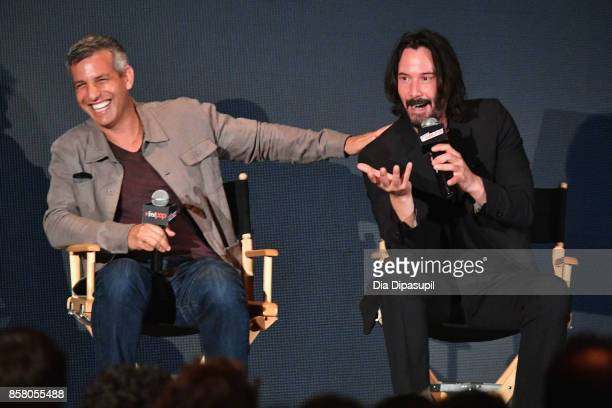 Jeffrey Nachmanoff and Keanu Reeves discuss Replicas during the 2017 New York Comic Con Day 1 on October 5 2017 in New York City