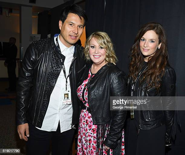 Jeffrey Remedios Jann Arden and Lucia Graca attend the 2016 Juno Awards at Scotiabank Saddledome on April 3 2016 in Calgary Canada