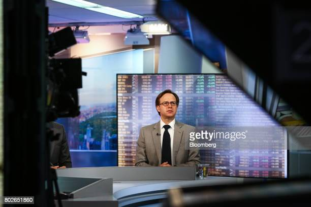 Jeffrey Rosenberg managing director and chief fixed income strategist at BlackRock Financial Management Inc listens during a Bloomberg Television...