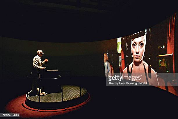 Jeffrey Shaw controlling EavesDrop an immersive cinema installation at The Power House museum as part of the Sydney Arts Festival on 10 January 2005...