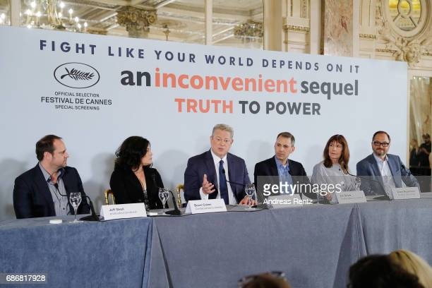 Jeffrey Skoll Bonni Cohen Al Gore Jon Shenk Diane Weyermann and Richard Berge attend the 'An Inconvenient Sequel Truth To Power' press conference...