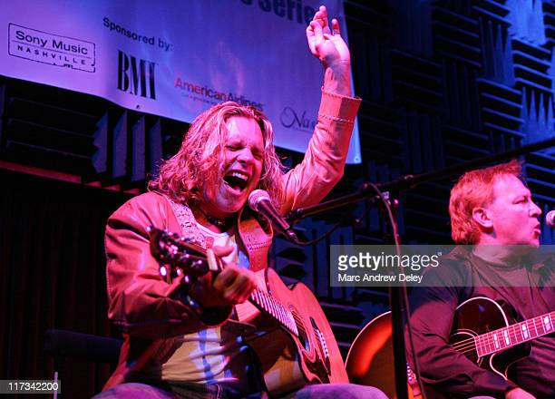 Jeffrey Steele and Tim Nichols during Country Takes New York City CMA Songwriters Series Day 3 at Joe's Pub in New York City New York United States