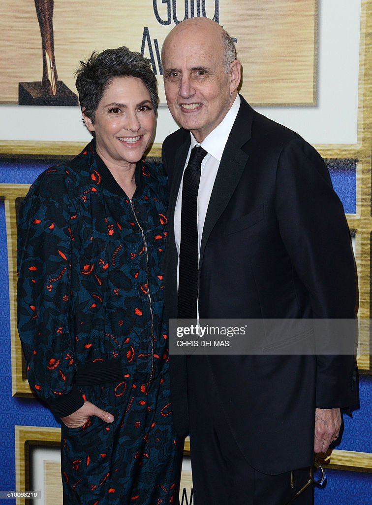 Jeffrey Tambor and Jill Soloway arrive for the Writers Guild Awards in Century City, California, February 13, 2016. / AFP / CHRIS DELMAS