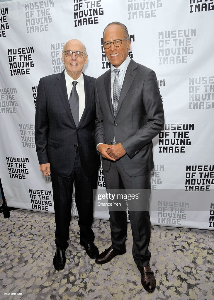 Jeffrey Tambor (L) and Lester Holt attend 2017 Museum Of The Moving Image Industry Honors at Park Hyatt Hotel New York on June 6, 2017 in New York City.