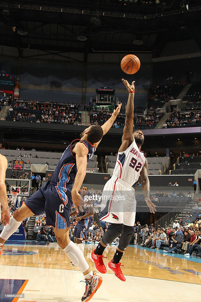 Jeffrey Taylor #44 of the Charlotte Bobcats goes for the rebound against DeShawn Stevenson #92 of the Atlanta Hawks at the Time Warner Cable Arena on November 23, 2012 in Charlotte, North Carolina.