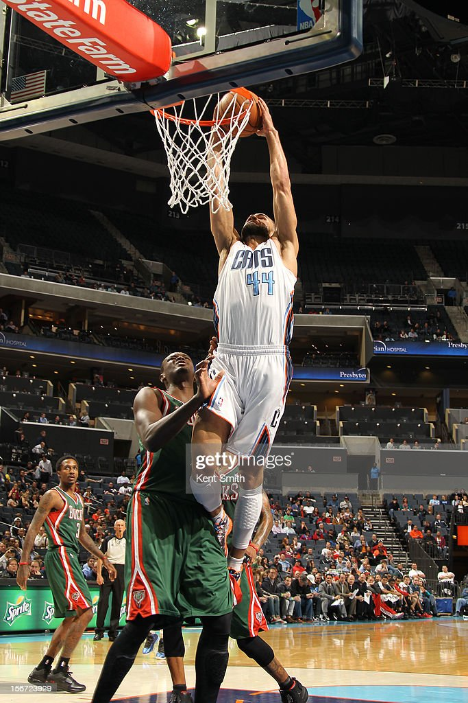 Jeffrey Taylor #44 of the Charlotte Bobcats shoots against the Milwaukee Bucks at the Time Warner Cable Arena on November 19, 2012 in Charlotte, North Carolina.