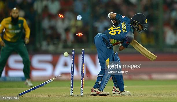 Jeffrey Vandersay of Sri Lanka is bowled by Kyle Abbott of South Africa during the ICC World Twenty20 India 2016 Group 1 match between South Africa...