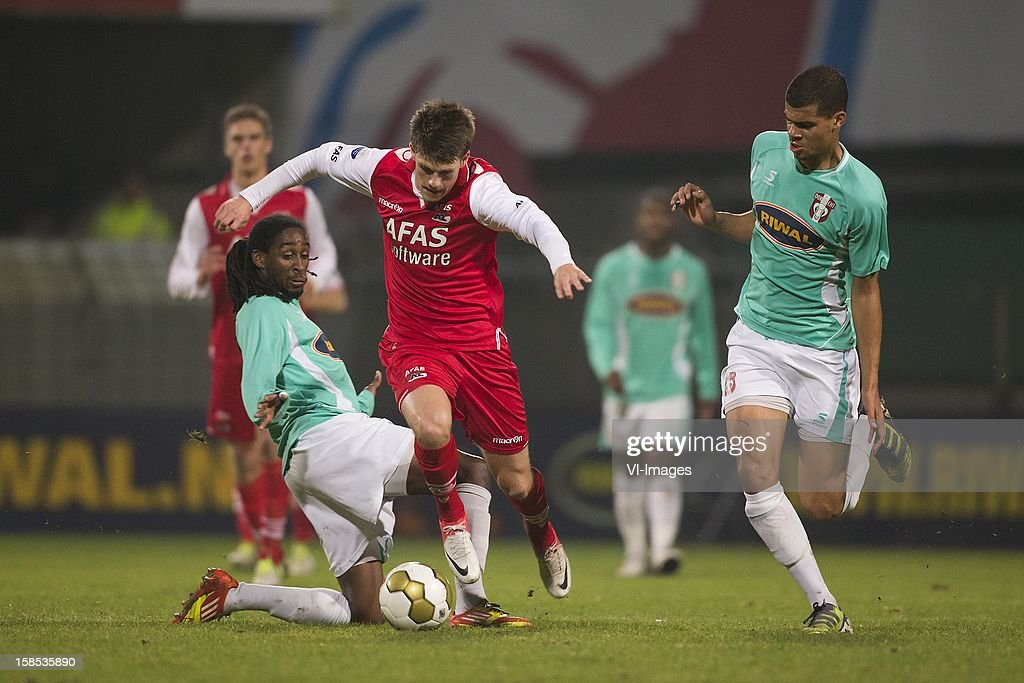Jeffry Fortes of FC Dordrecht, Viktor Elm of AZ during the Dutch Cup match between FC Dordrecht and AZ Alkmaar at the GN Bouw Stadium on December 18, 2012 in Dordrecht, The Netherlands.