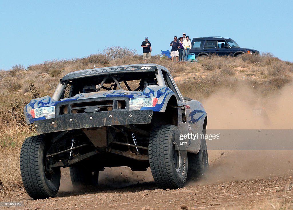 US Jefre Jones drives his Chevy C1500 during the first day of the Baja 500 rally, in Baja California State, Mexico, on June 5, 2010. AFP PHOTO/Jesus Alcazar