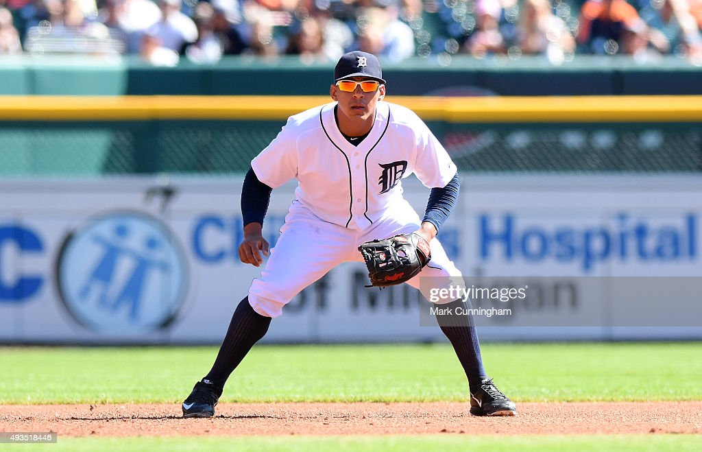 Jefry Marte #55 of the Detroit Tigers fields during the first game of a doubleheader against the Chicago White Sox at Comerica Park on September 21, 2015 in Detroit, Michigan. The White Sox defeated the Tigers 2-0.