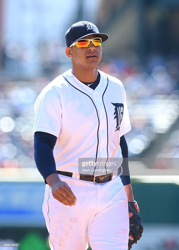 Jefry Marte #55 of the Detroit Tigers looks on during the first game of a doubleheader against the Chicago White Sox at Comerica Park on September 21, 2015 in Detroit, Michigan. The White Sox defeated the Tigers 2-0.