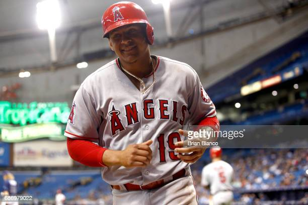 Jefry Marte of the Los Angeles Angels celebrates after scoring on a wild pitch by Ryne Stanek of the Tampa Bay Rays during the seventh inning of a...