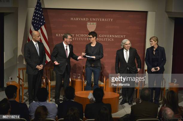 Jeh Johnson Ash Carter Rachel Maddow Ernest Moniz and Samantha Power speak at the Harvard University John F Kennedy Jr Forum in a program titled...