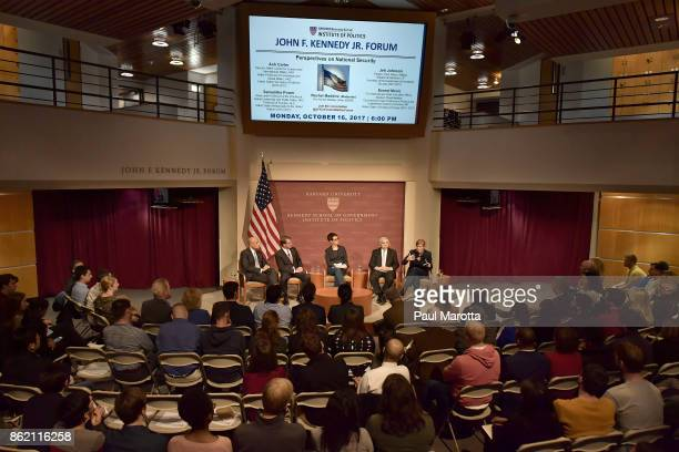 Jeh Johnson Ash Carter Rachel Maddow Ernest Moniz and Samantha Power speak at the Harvard University John F Kennedy Jr Forum in a program titled...