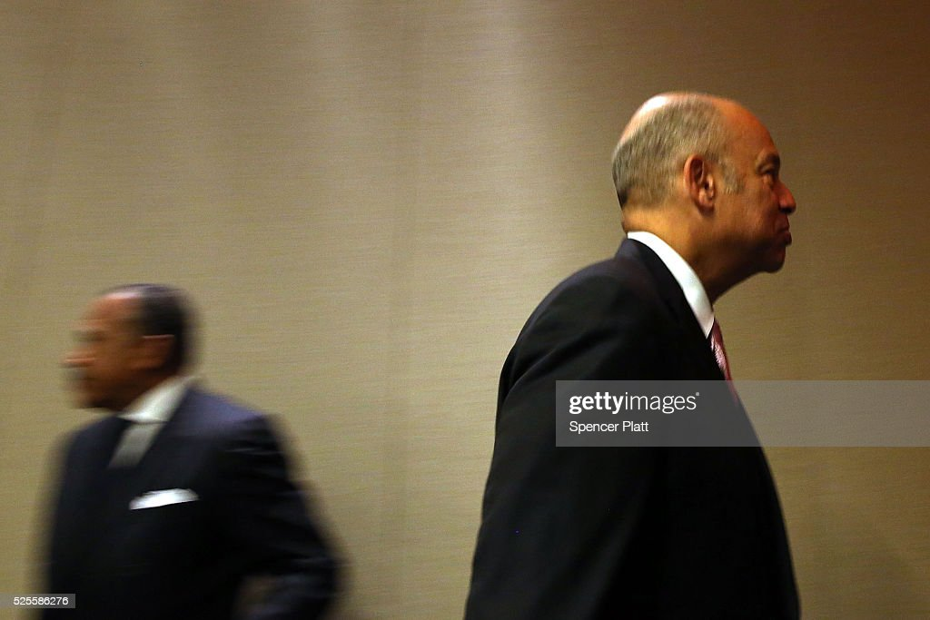 Jeh Johnson, the United States Secretary of Homeland Security, leaves a news conference at a Manhattan hotel hosting a counter-terrorism conference on April 28, 2016 in New York City. The Leadership in Counter Terrorism conference (LinCT) is a yearly gathering that draws law enforcement and security officials from around the world to discuss efforts in combating terrorism.