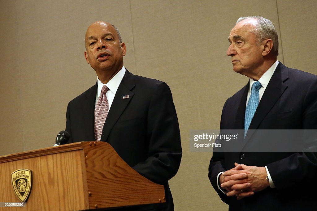 Jeh Johnson, the United States Secretary of Homeland Security, speaks at a news conference as New York City Police Commissioner William Bratton looks on at a Manhattan hotel hosting a counter-terrorism conference on April 28, 2016 in New York City. The Leadership in Counter Terrorism conference (LinCT) is a yearly gathering that draws law enforcement and security officials from around the world to discuss efforts in combating terrorism.