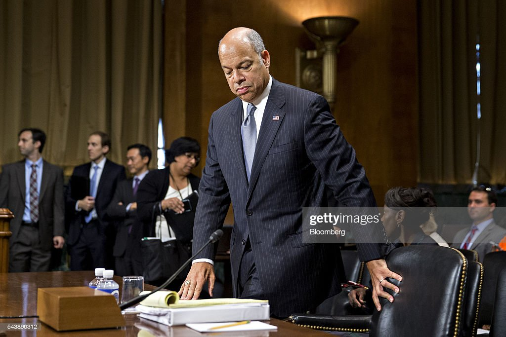 <a gi-track='captionPersonalityLinkClicked' href=/galleries/search?phrase=Jeh+Johnson&family=editorial&specificpeople=5862084 ng-click='$event.stopPropagation()'>Jeh Johnson</a>, U.S. secretary of Homeland Security (DHS), arrives to a Senate Judiciary Committee hearing in Washington, D.C., U.S., on Thursday, June 30, 2016. Johnson said gun control is a matter of homeland security during the hearing. Photographer: Andrew Harrer/Bloomberg via Getty Images