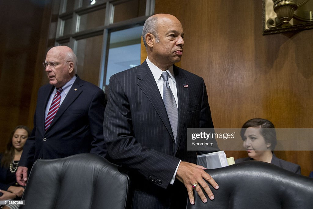 <a gi-track='captionPersonalityLinkClicked' href=/galleries/search?phrase=Jeh+Johnson&family=editorial&specificpeople=5862084 ng-click='$event.stopPropagation()'>Jeh Johnson</a>, U.S. secretary of Homeland Security (DHS), arrives to a Senate Judiciary Committee hearing with Senator Patrick Leahy, a Democrat from Vermont, left, in Washington, D.C., U.S., on Thursday, June 30, 2016. Johnson said gun control is a matter of homeland security during the hearing. Photographer: Andrew Harrer/Bloomberg via Getty Images