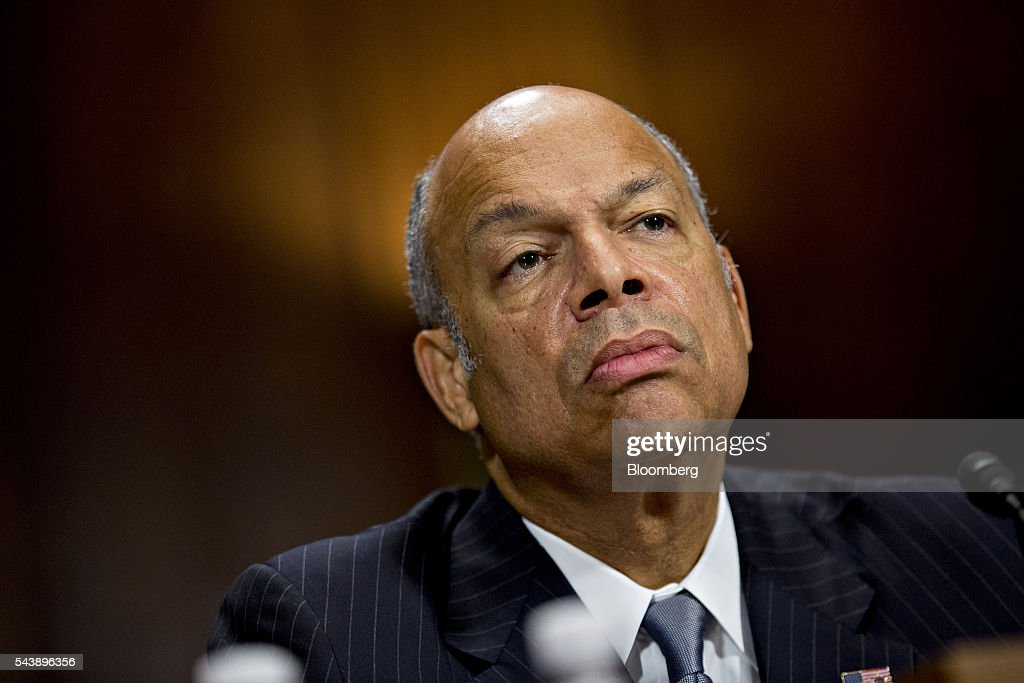 <a gi-track='captionPersonalityLinkClicked' href=/galleries/search?phrase=Jeh+Johnson&family=editorial&specificpeople=5862084 ng-click='$event.stopPropagation()'>Jeh Johnson</a>, U.S. secretary of Homeland Security (DHS), listens during a Senate Judiciary Committee hearing in Washington, D.C., U.S., on Thursday, June 30, 2016. Johnson said gun control is a matter of homeland security during the hearing. Photographer: Andrew Harrer/Bloomberg via Getty Images