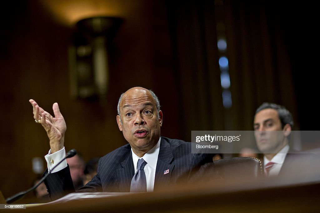 <a gi-track='captionPersonalityLinkClicked' href=/galleries/search?phrase=Jeh+Johnson&family=editorial&specificpeople=5862084 ng-click='$event.stopPropagation()'>Jeh Johnson</a>, U.S. secretary of Homeland Security (DHS), speaks during a Senate Judiciary Committee hearing in Washington, D.C., U.S., on Thursday, June 30, 2016. Johnson said gun control is a matter of homeland security during the hearing. Photographer: Andrew Harrer/Bloomberg via Getty Images