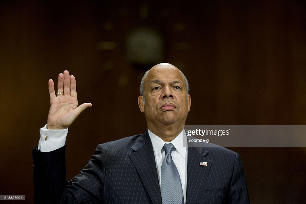 <a gi-track='captionPersonalityLinkClicked' href=/galleries/search?phrase=Jeh+Johnson&family=editorial&specificpeople=5862084 ng-click='$event.stopPropagation()'>Jeh Johnson</a>, U.S. secretary of Homeland Security (DHS), swears in to a Senate Judiciary Committee hearing in Washington, D.C., U.S., on Thursday, June 30, 2016. Johnson said gun control is a matter of homeland security during the hearing. Photographer: Andrew Harrer/Bloomberg via Getty Images