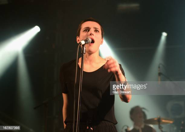 Jehnny Beth of Savages performs on stage as part of the NME Awards 2013 series of concerts at the Electric Ballroom on February 21 2013 in London...