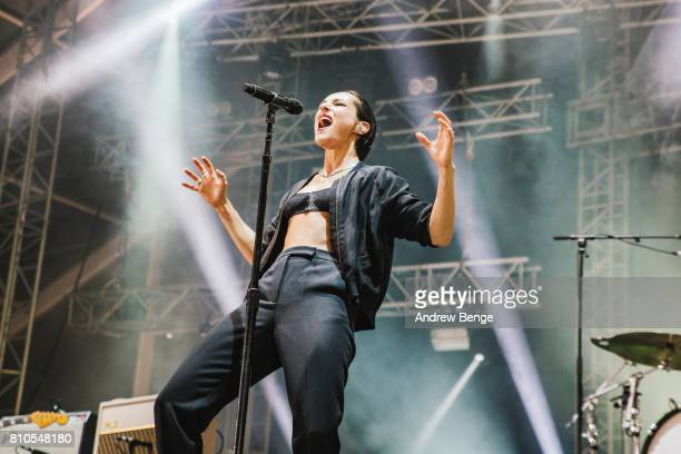 Jehnny Beth of Savages performs on the Heineken stage during day 2 of NOS Alive on July 7 2017 in Lisbon Portugal