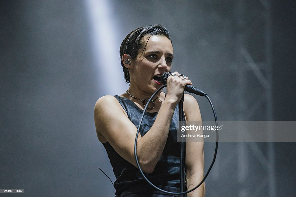 Jehnny Beth of Savages performs on the NME / BBC Radio 1 Stage during day 1 of Leeds Festival 2016 at Bramham Park on August 26 2016 in Leeds England