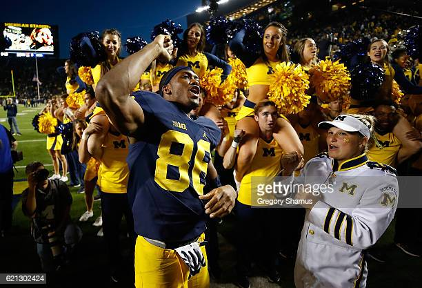Jehu Chesson of the Michigan Wolverines celebrates a 593 win over the Maryland Terrapins on November 5 2016 at Michigan Stadium in Ann Arbor Michigan