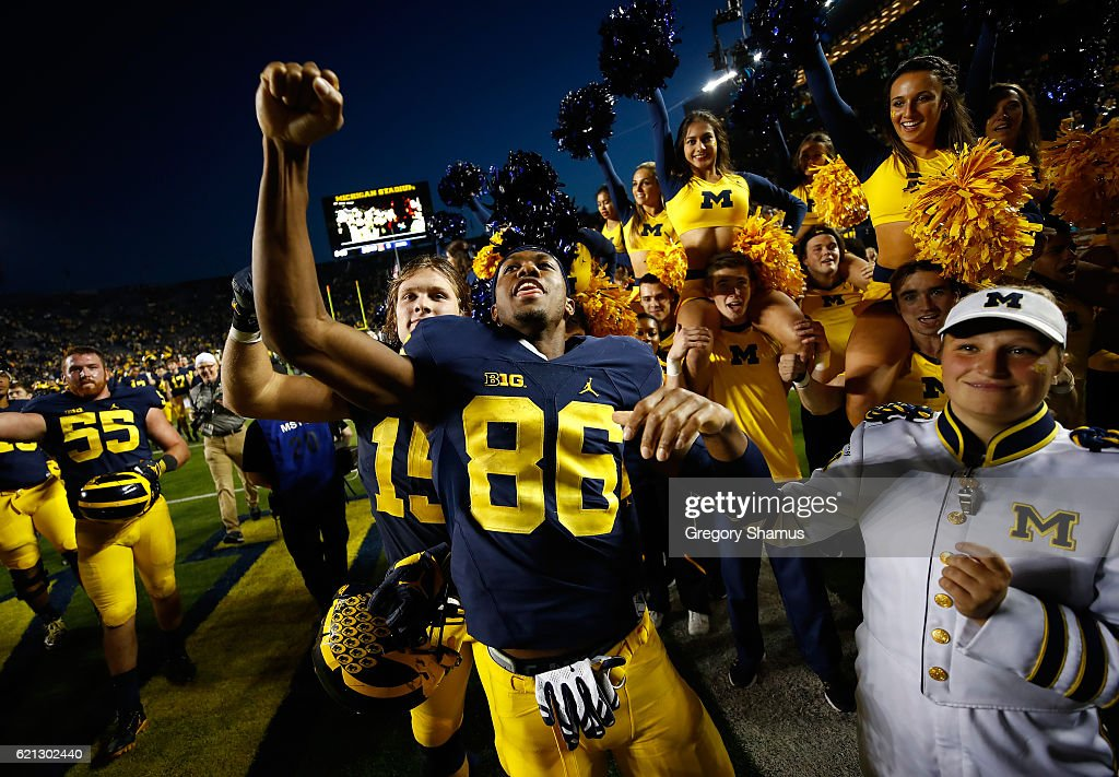Jehu Chesson #86 of the Michigan Wolverines celebrates a 59-3 win over the Maryland Terrapins on November 5, 2016 at Michigan Stadium in Ann Arbor, Michigan.