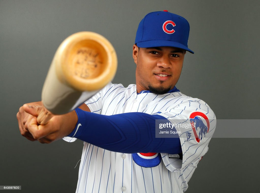 Jeimer Candelario #7 of the Chicago Cubs poses during Chicago Cubs Photo Day on February 21, 2017 in Mesa, Arizona.