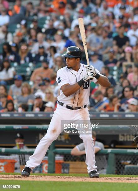 Jeimer Candelario of the Detroit Tigers bats during the game against the Chicago White Sox at Comerica Park on September 16 2017 in Detroit Michigan...