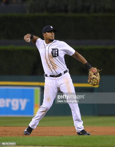 Jeimer Candelario of the Detroit Tigers fields during the game against the Chicago White Sox at Comerica Park on September 16 2017 in Detroit...