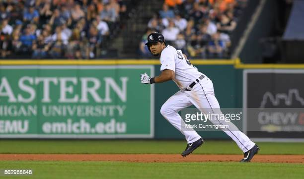 Jeimer Candelario of the Detroit Tigers runs the bases during the game against the Chicago White Sox at Comerica Park on September 16 2017 in Detroit...