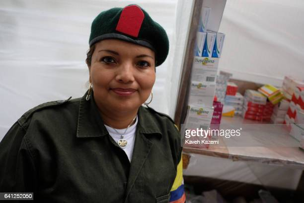 Jeimi a 37 years old female FARC guerrilla fighter who has become a specialized nurse in the movement seen inside the nursery in a demobilization...