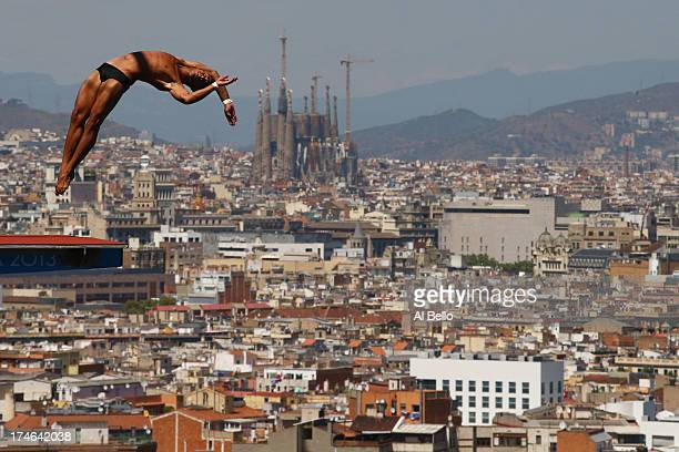 Jeinkler Aguirre of Cuba competes during the Men's 10m Platform Diving final on day nine of the 15th FINA World Championships at Piscina Municipal de...