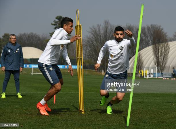 Jeison Murillo and Ever Banega in action during FC Internazionale training session at Suning Training Center at Appiano Gentile on March 17 2017 in...