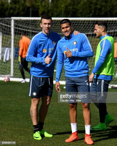 Jeison Murillo and Ivan Perisic of FC Internazionale poses for a photo during a FC Internazionale training session at Suning Training Center at...