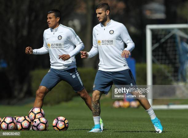 Jeison Murillo and Mauro Emanuel Icardi of FC Internazionale train during the FC Internazionale training session at the club's training ground Suning...