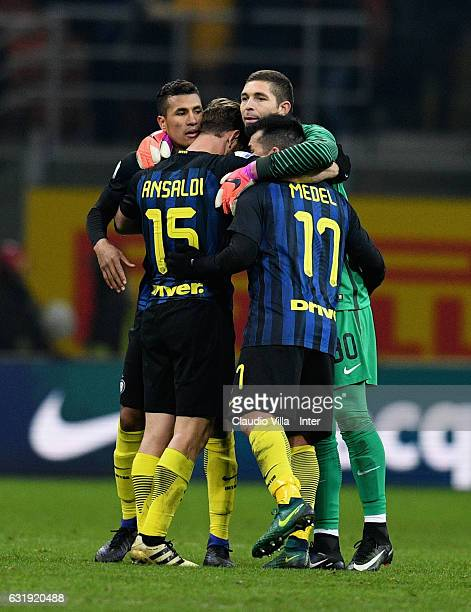 Jeison Murillo Cristian Ansaldi Juan Pablo Carrizo and Gary Medel celebrate at the end of the TIM Cup match between FC Internazionale and Bologna FC...
