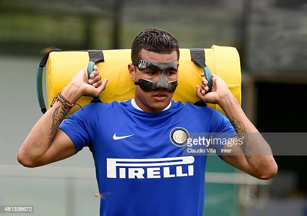 Jeison Murillo in action during FC Internazionale Training Camp In China on July 20 2015 in Shanghai China