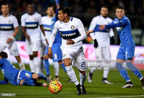 Jeison Murillo in action during the Serie A match between Empoli FC and FC Internazionale Milano at Stadio Carlo Castellani on January 6 2016 in...